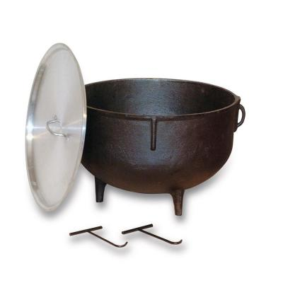 10 gal. Cast Iron Jambalaya Pot with Feet and Aluminum Lid