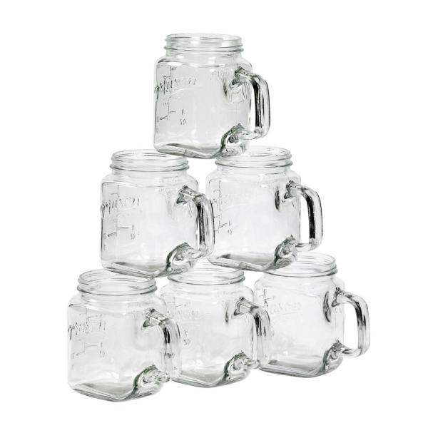 Mason Craft & More Serving 24 oz. Clear Glass Mugs (6-Pack)