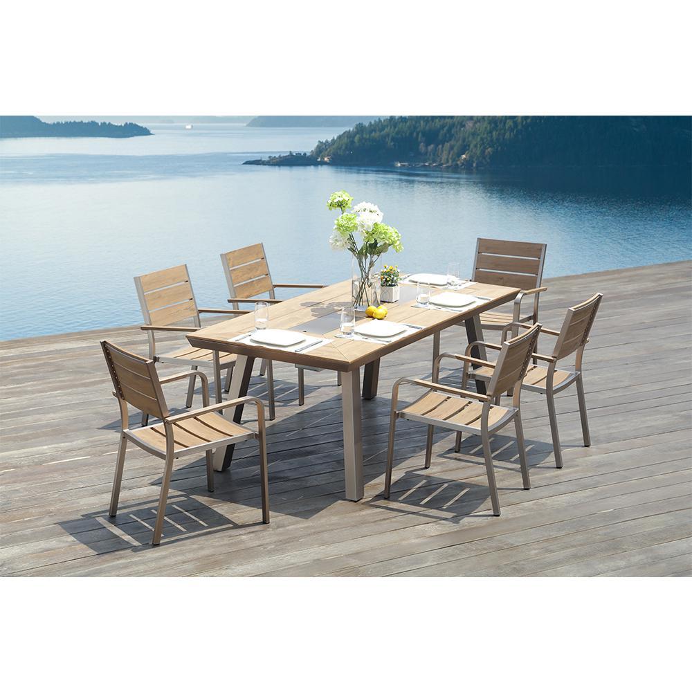 Pompano 7-Piece Rectangular Aluminum Outdoor Dining Table