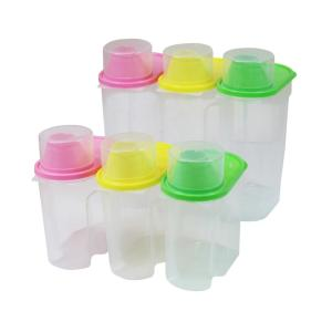 BPA-Free Plastic Food Saver, Kitchen Food Cereal Storage Containers with Graduated Cap (Set of 3 Large and 3 Small) by