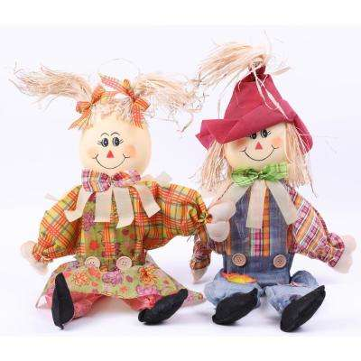 24 in. Sitting Scarecrow Sister and Brother Set with Red Hat