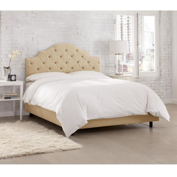 . Jones Linen Sandstone California King Tufted Notched Bed