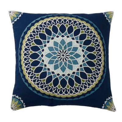 Embroidered Blue Suzani 20 in. x 20 in. Decorative Throw Pillow Cover