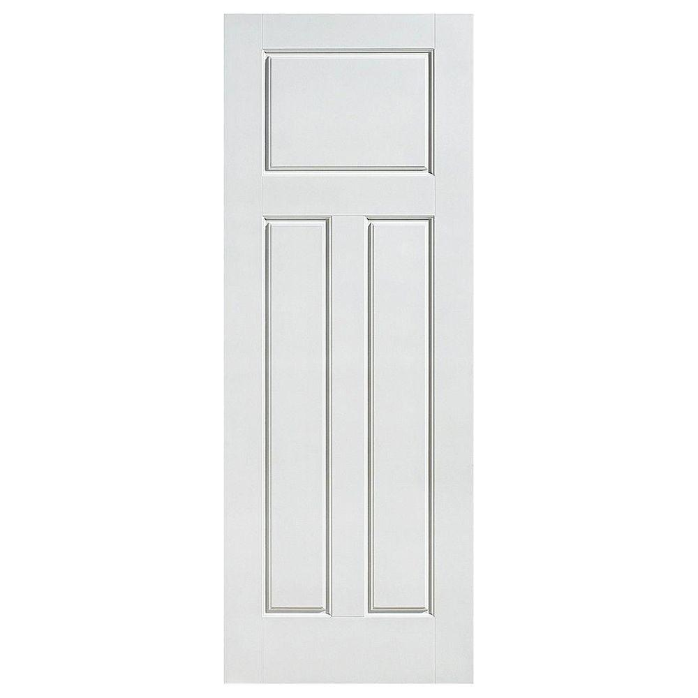 Masonite Glenview Smooth 3-Panel Craftsman Hollow Core Primed Composite Single Prehung Interior Door