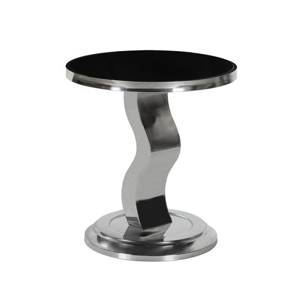 Noble House Narelle Contemporary Silver Stainless Steel Accent Table with Round