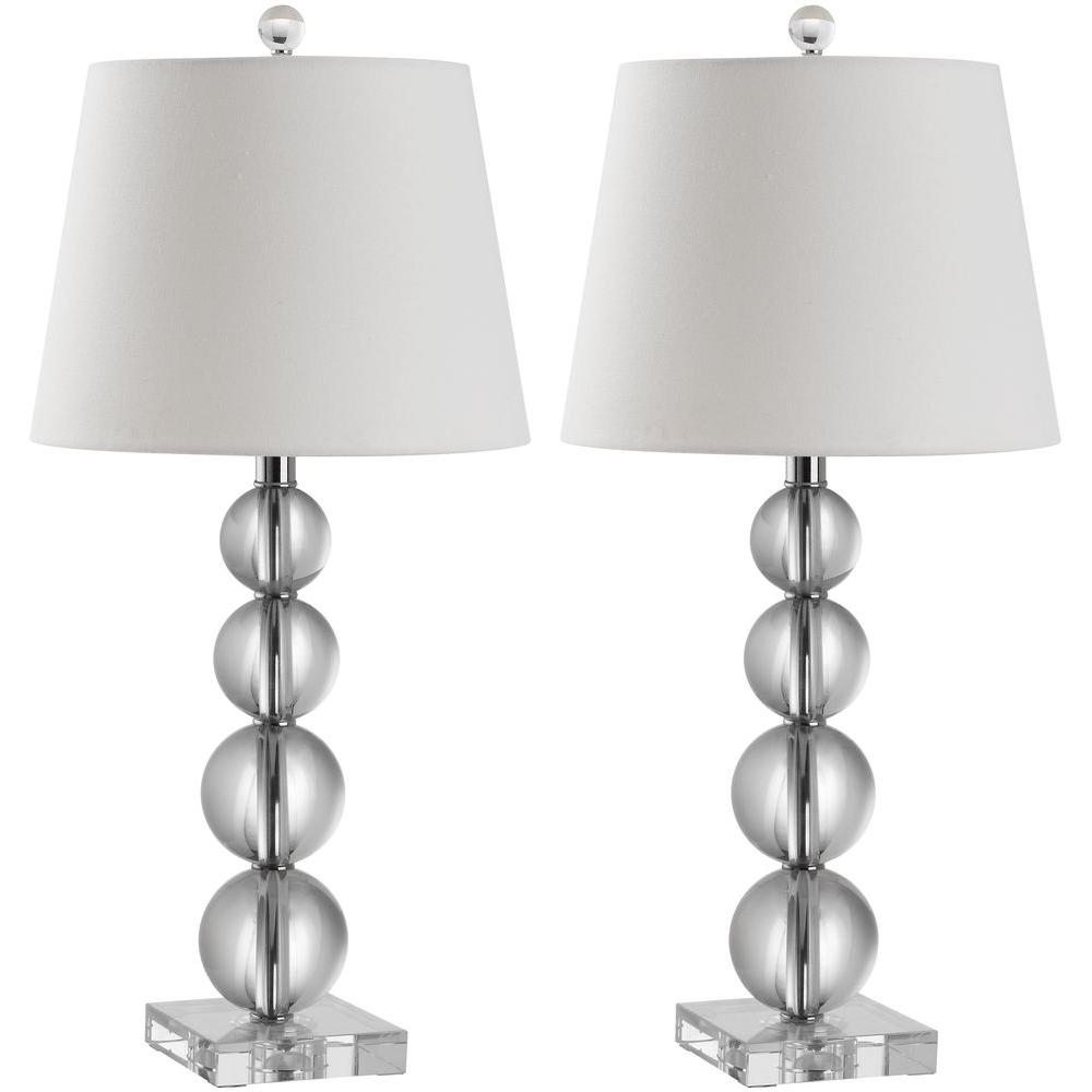 Safavieh Millie 26.5 in. Clear Crystal Ball Table Lamp (Set of 2)