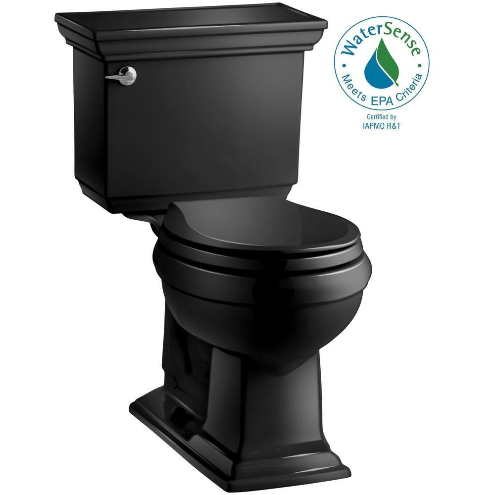 KOHLER Memoirs Stately 2-piece 1.28 GPF Round Toilet with AquaPiston Flushing Technology in Black Black