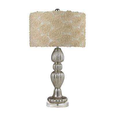 1 Light 30 In. Ribbed Silver Mercury Glass Table Lamp