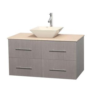 Wyndham Collection Centra 42 inch Vanity in Gray Oak with Marble Vanity Top in Ivory and Bone Porcelain Sink by Wyndham Collection
