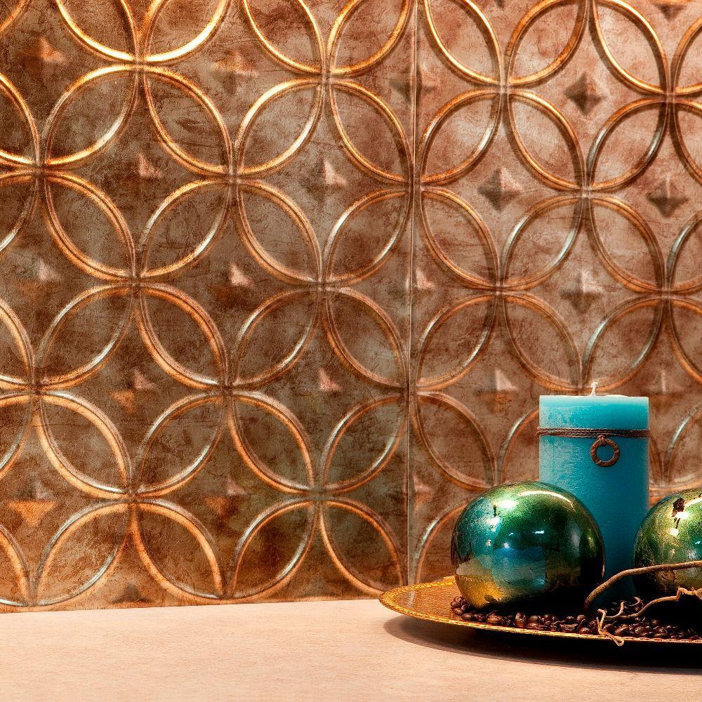 Fasade 24 in. x 18 in. Rings PVC Decorative Backsplash Panel in Bermuda Bronze