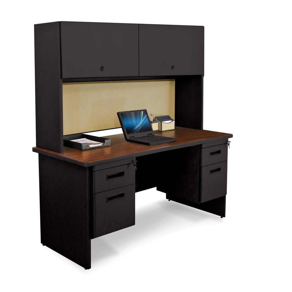 60 in. W x 24 in. D Black and Mahogany Beryl