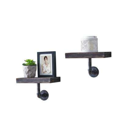 12 in. x 7 in. Floating Pipe Industrial Ebony Rustic Wall Mount Decorative Shelves (Set of 2)