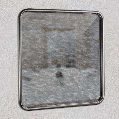 Rounded Square Silver Antiqued Framed Wall Mirror