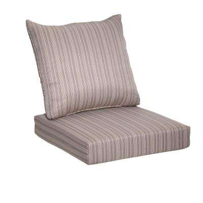 Saddle Stripe 2-Piece Deep Seating Outdoor Lounge Chair Cushion
