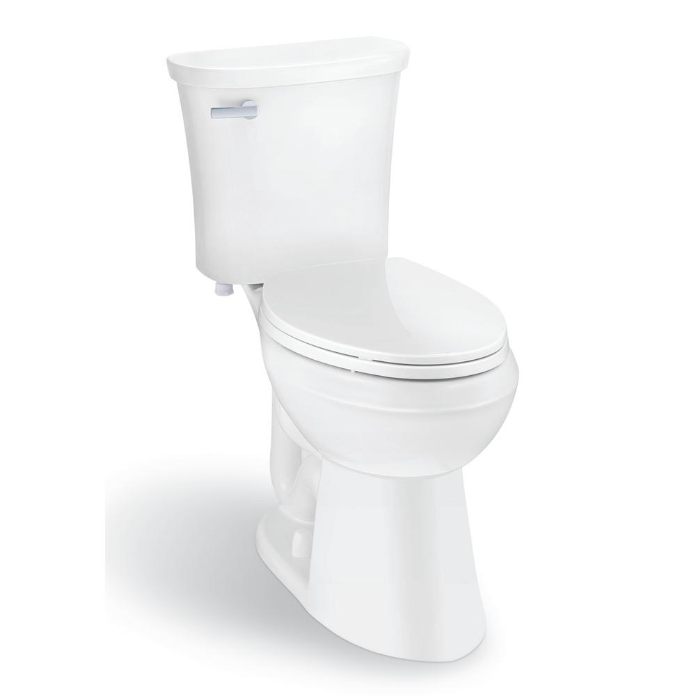 Glacier Bay Power Flush 2-Piece 1.28 GPF Single Flush Elongated Toilet in White, Seat Included