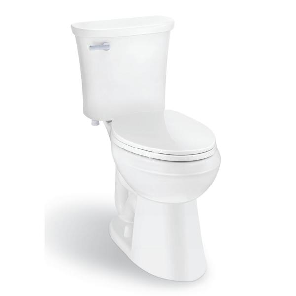 Glacier Bay Power Flush 2 Piece 1 28 Gpf Single Flush Elongated Toilet In White With Slow Close Seat Included N2450e The Home Depot
