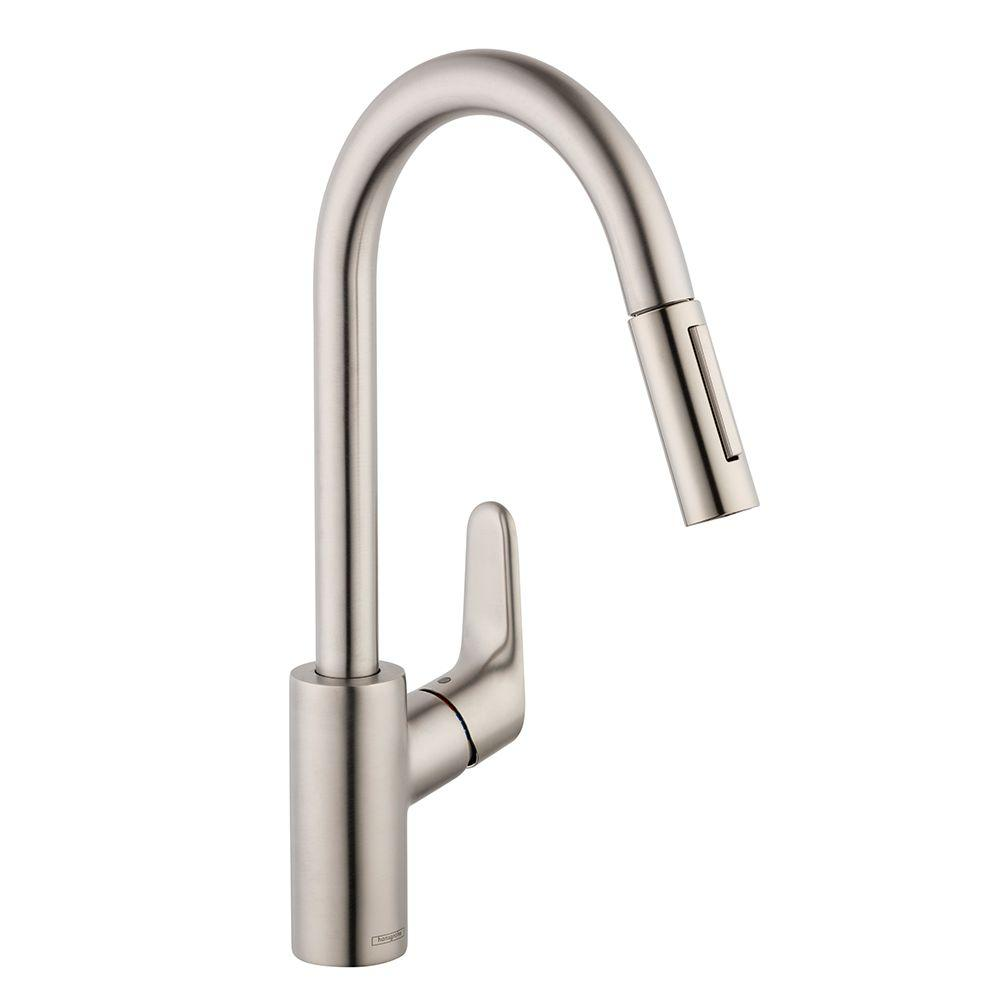 Hansgrohe Focus Single-Handle Pull-Down Sprayer Kitchen Faucet in Steel  Optik