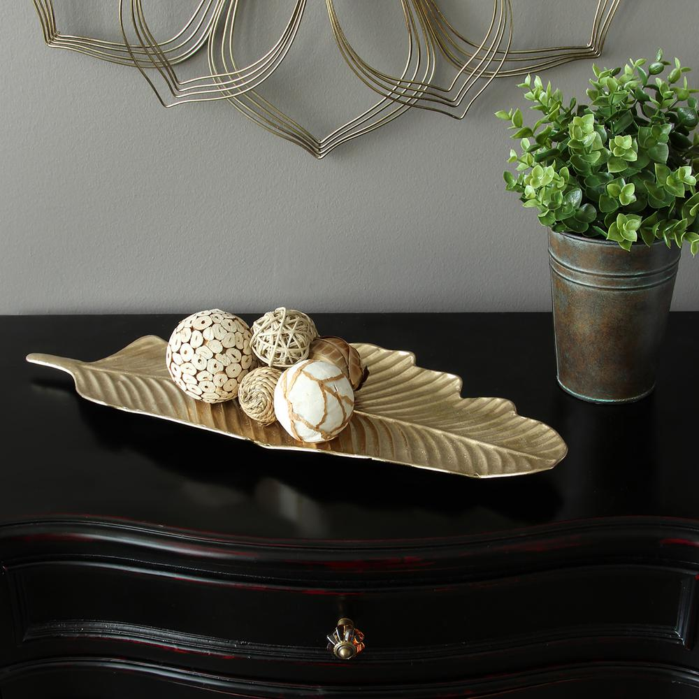 Stratton Home Decor Metal Gold Leaf Tabletop Tray