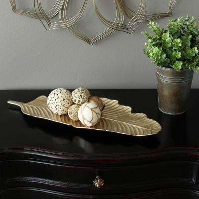 Metal Gold Leaf Tabletop Tray