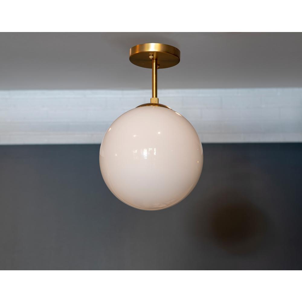 Retro Art Deco Small Ribbed Round Milk Glass Flush Mount Light Fixture Vtg E10