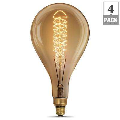 60-Watt Soft White (2200K) PS52 Dimmable Incandescent Vintage Style Large Amber Glass Light Bulb (Case of 4)