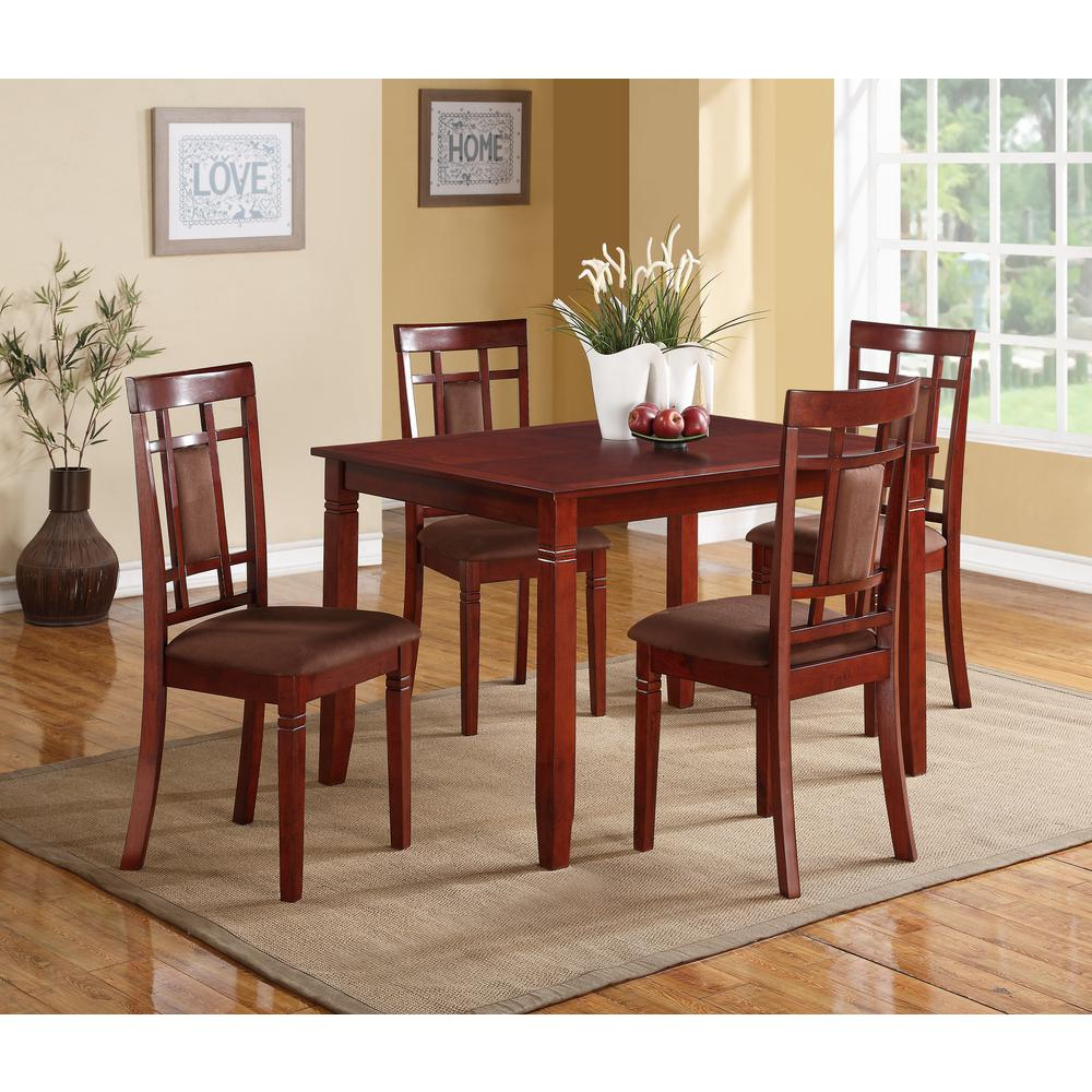 Acme sonata 5 piece cherry dining set 71164 the home depot for Jardin 8 piece dining set