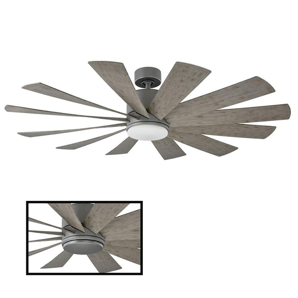 Modern Forms Windflower 60 in. LED Indoor/Outdoor Graphite 12-Blade Smart Ceiling Fan with 3000K Light Kit and Wall Control