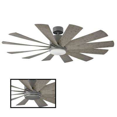 Windflower 60 in. Indoor and Outdoor 12 Blade Smart Ceiling Fan in Graphite with 3000K LED Light Kit