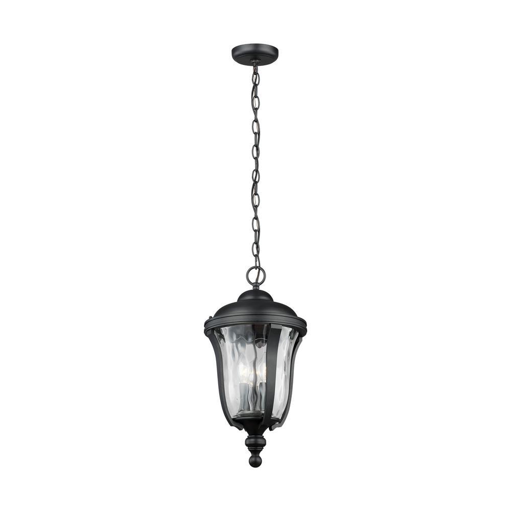 Perrywood Medium 3-Light Black Hanging Lantern with Water Glass
