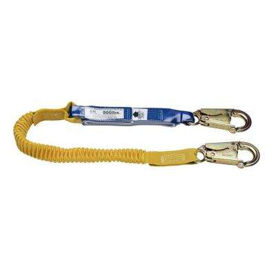 Upgear 6 ft. DeCoil Stretch Single Leg Lanyard (DCELL Shock Pack, Elastic Web, Snap Hook)