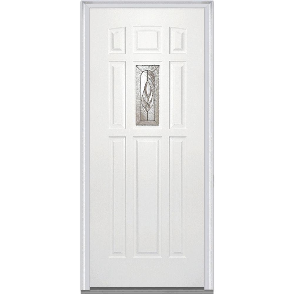 MMI Door 32 in. x 80 in. Brentwood Right-Hand 1 Lite 8-Panel Classic Primed Steel Prehung Front Door