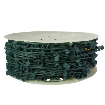 1000-Light Green Commercial C9 Socket Sets Spool with 12 in. Spacing and Green Wire