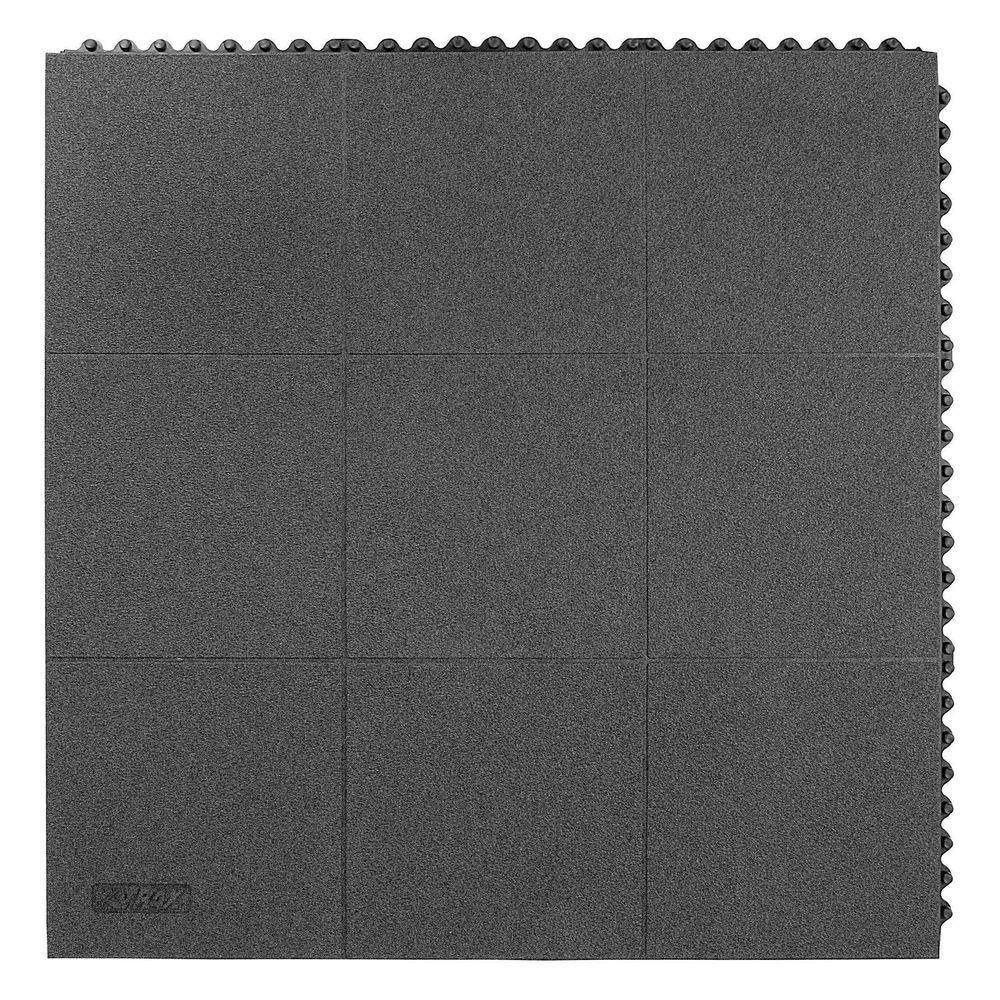NoTrax Niru Cushion-Ease GSII Solid Gritted Black 3 ft. x 3 ft. Nitrile Rubber Anti-Fatigue/Safety Mat