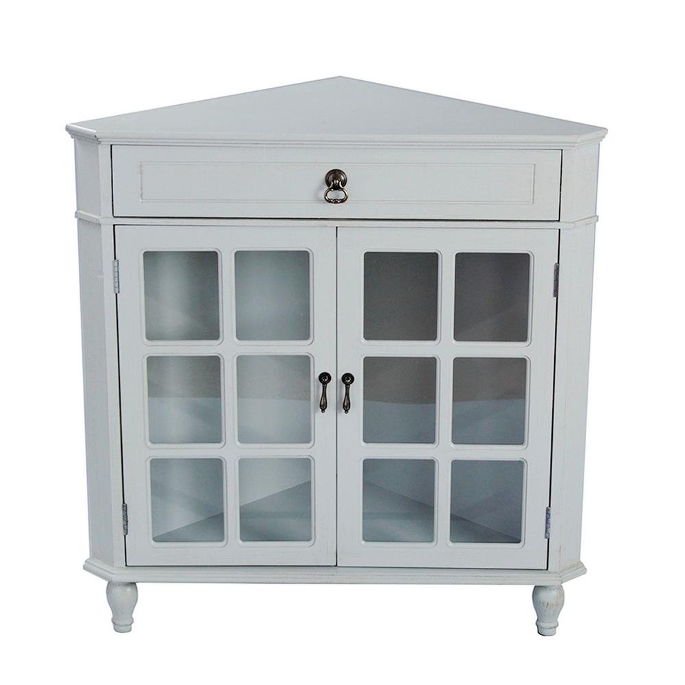 Shelly Light Sage Wood Cabinet with a Drawer and Door