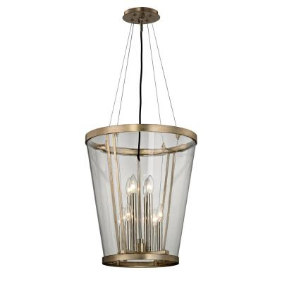 Trapeze 8-Light Champagne Silver Leaf Pendant with Clear Blown Glass Shade