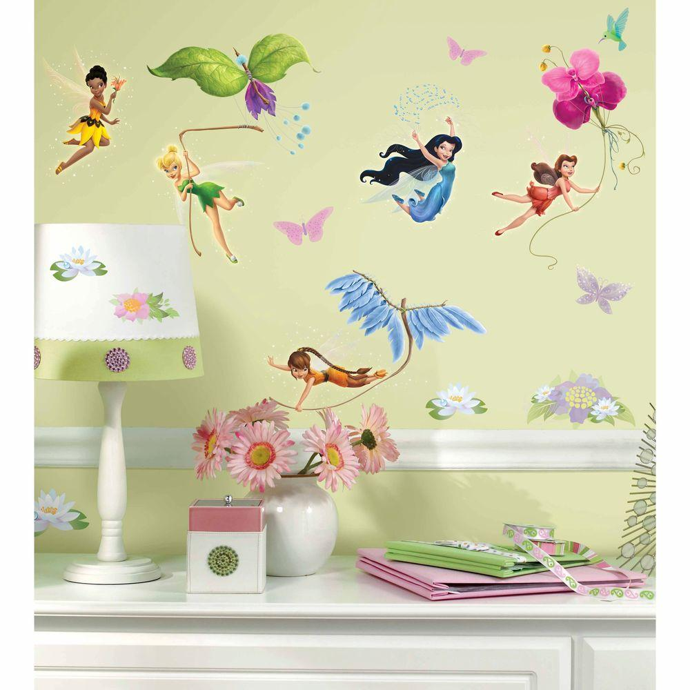 RoomMates 5 in. x 11.5 in. Disney Fairies 30-Piece Peel and Stick ...