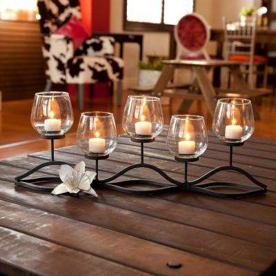 Wavy Black Iron Multiple Candle Holder with Glass Hurricane Cups