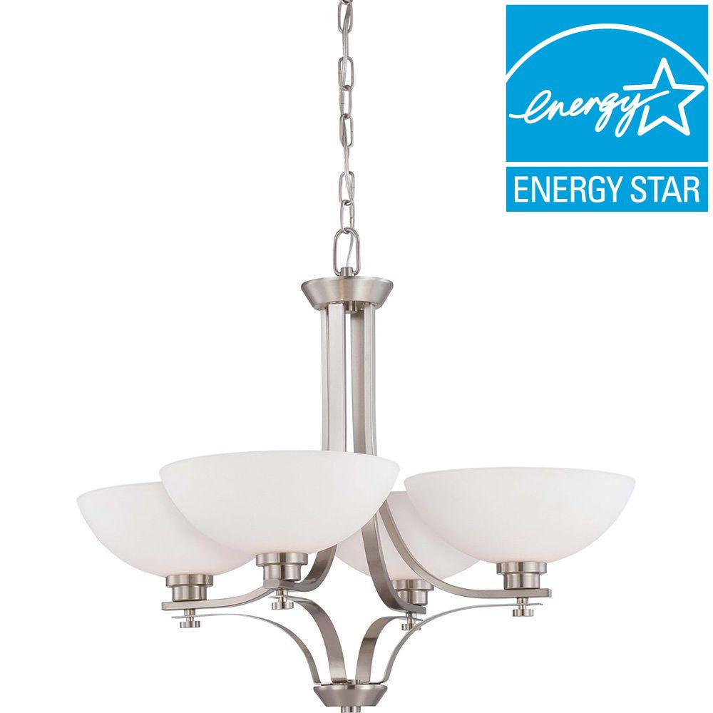 Illumine 4-Light Brushed Nickel Chandelier with Frosted Glass Shade