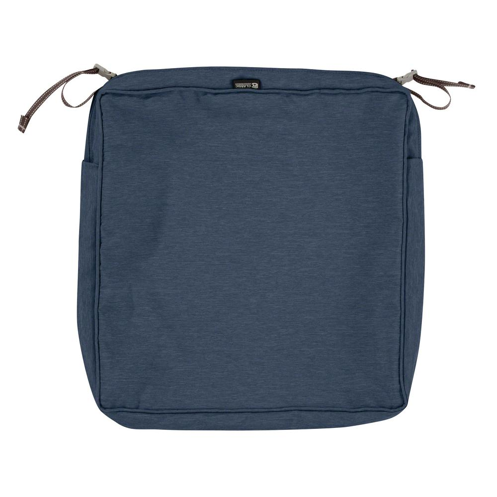 Classic Accessories Montlake Fade Safe Heather Indigo 19 in. Square Outdoor  Seat Cushion Cover