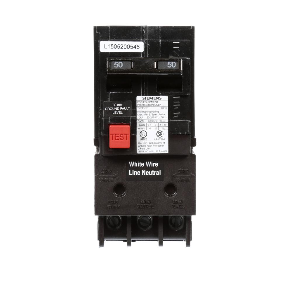 Siemens 50 Amp Double Pole Type QE Ground Fault Equipment...