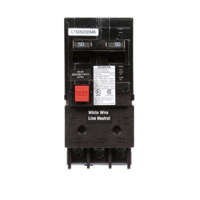 50 Amp Double Pole Type QE Ground Fault Equipment Protection Circuit Breaker