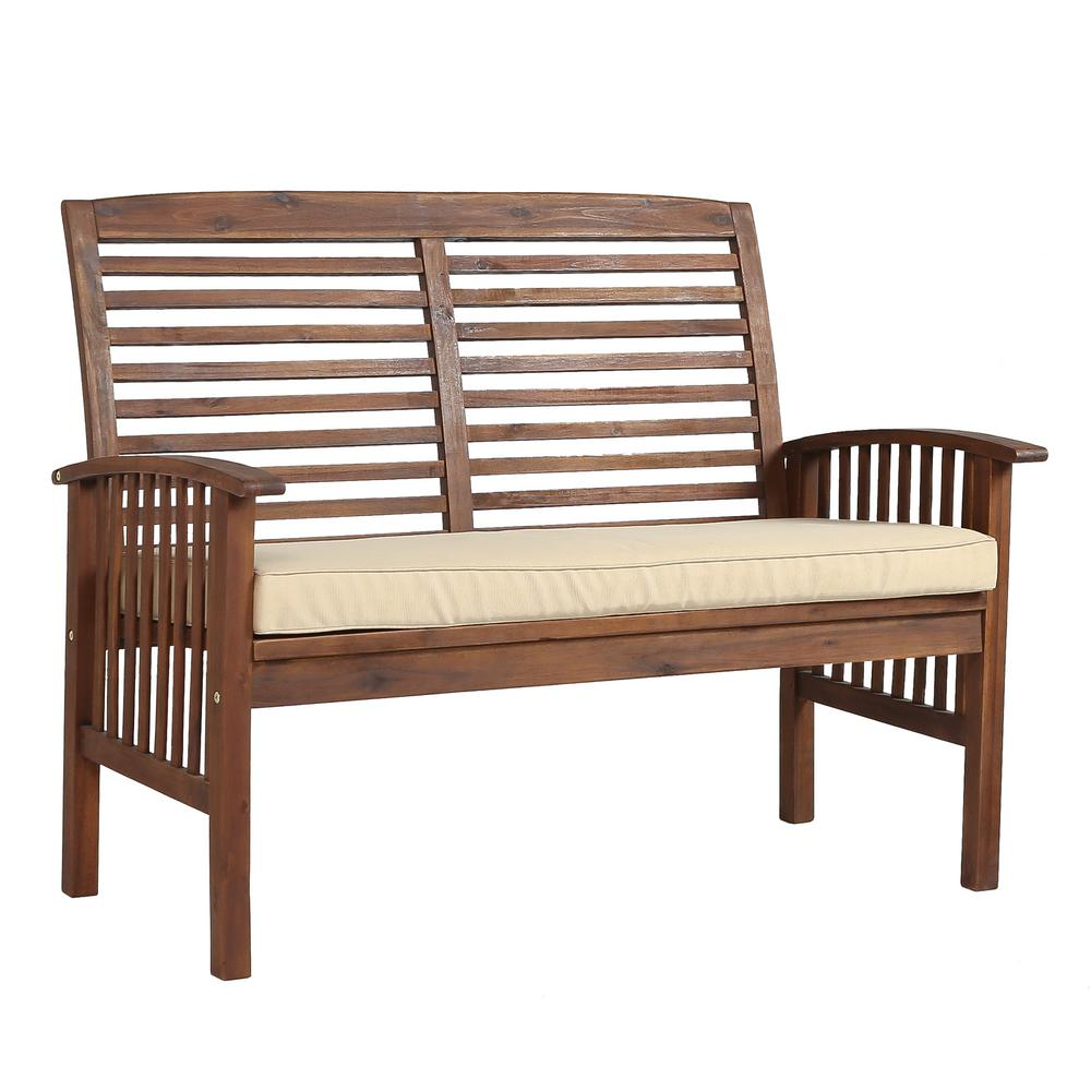 Walker Edison Furniture Company Boardwalk 48 In Dark Brown Acacia Wood Outdoor Loveseat Bench