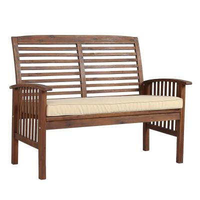 Boardwalk 48 in. Dark Brown Acacia Wood Outdoor Loveseat Bench with White Cushions