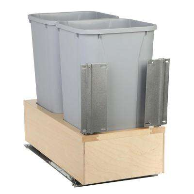 20 in. H x 12 in. W x 22 in. D Wooden 27 Qt. Undermount Double Soft-Close Pull Out Trash Can in Gray