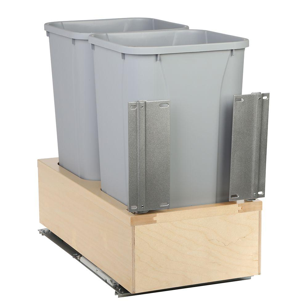 Knape & Vogt 20 in. H x 12 in. W x 22 in. D Wooden 27 Qt. Undermount Double Soft-Close Pull Out Trash Can in Gray