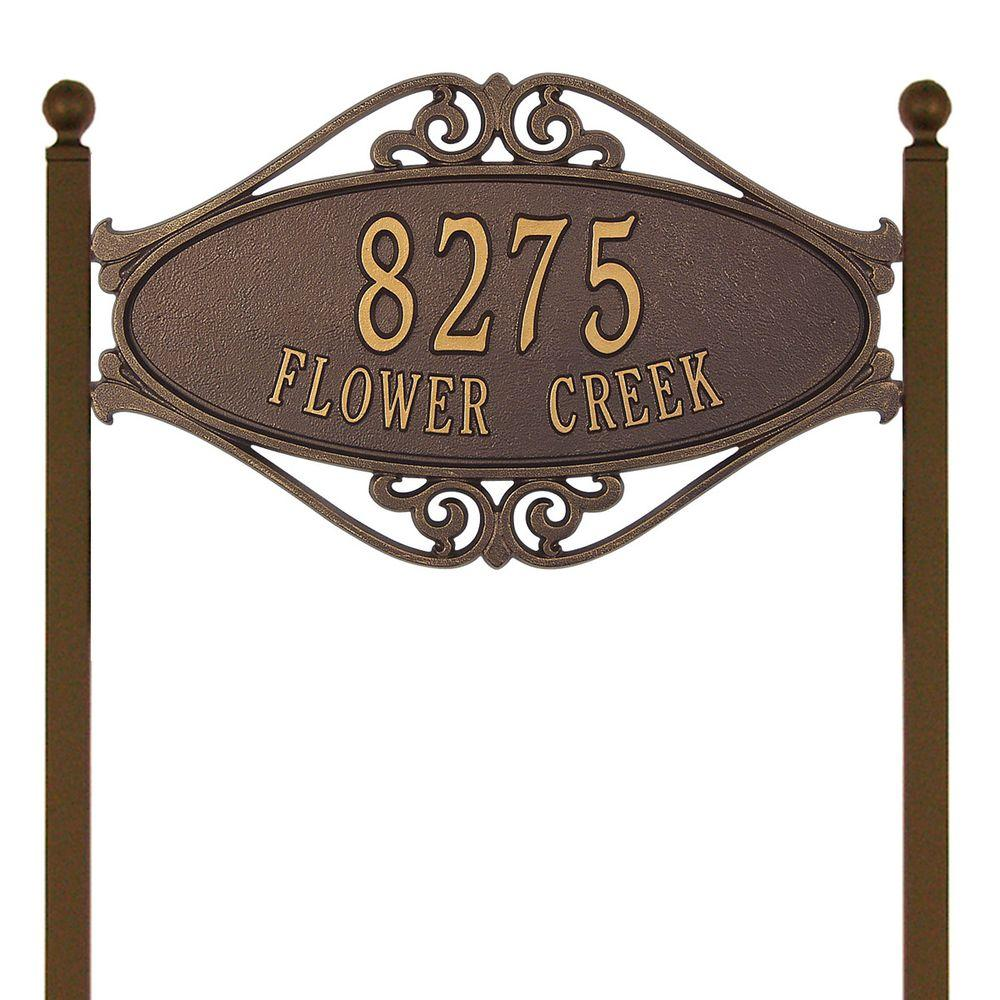 Whitehall Products Hackley Fretwork Oval Antique Copper Standard Lawn Two Line Address Plaque