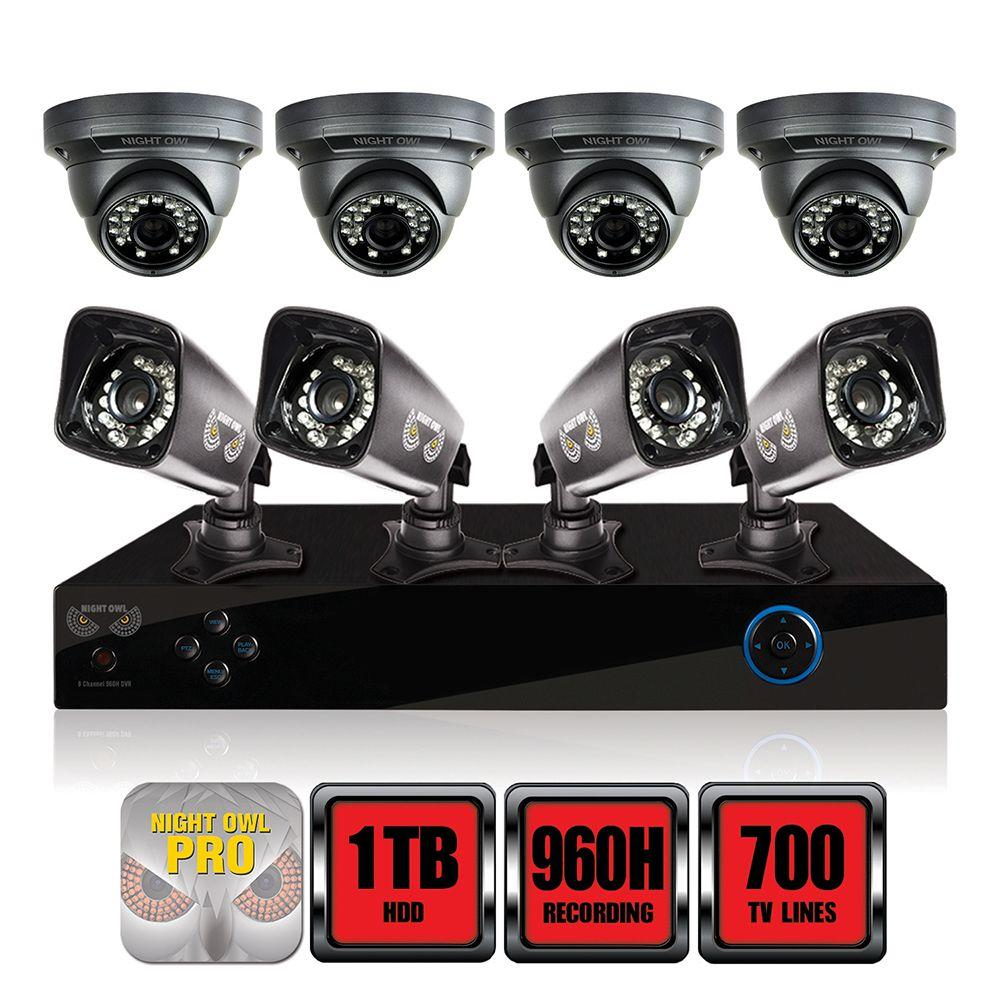 Night Owl PRO Series 8-Channel 960H Surveillance System with 1TB HDD and (8) 700 TVL Cameras