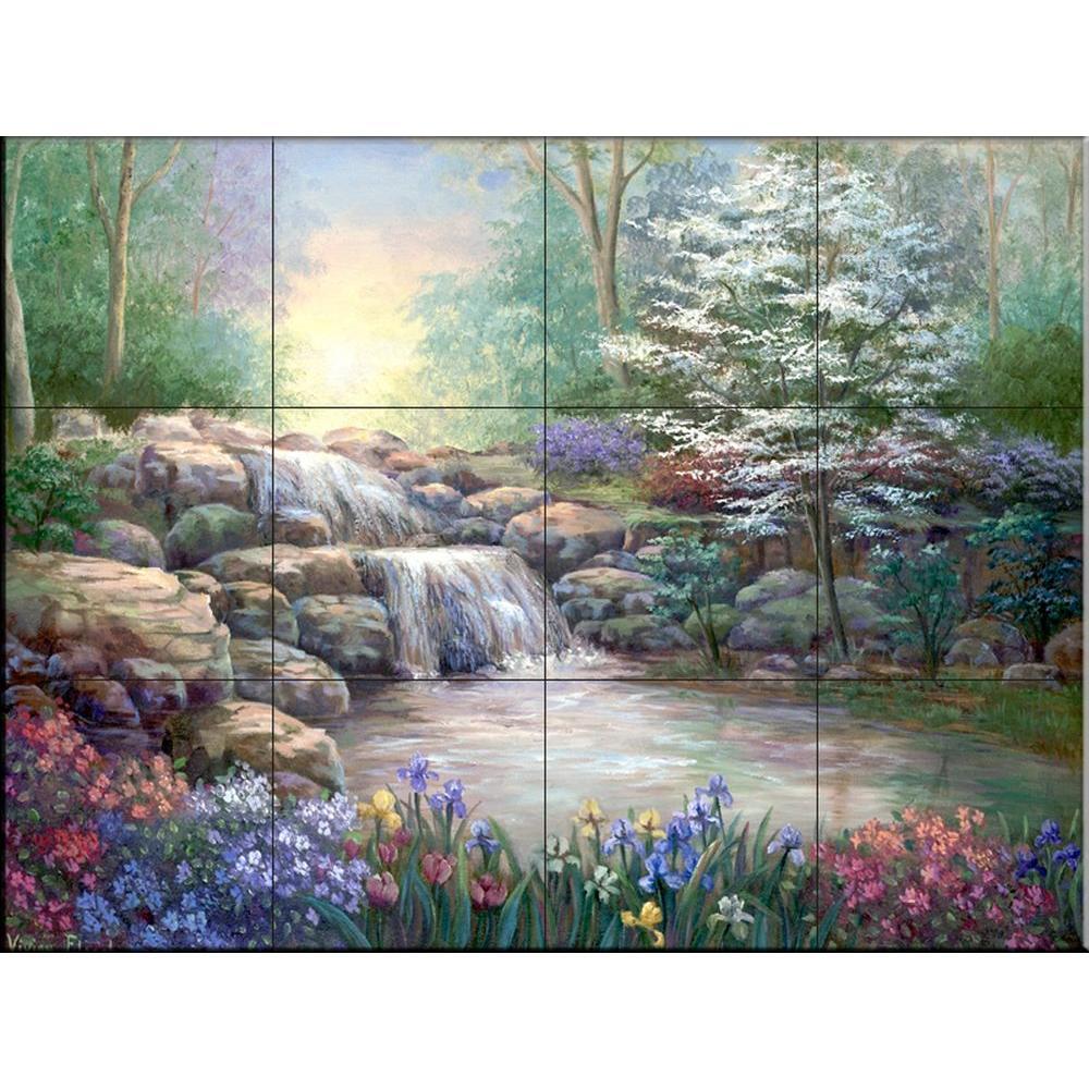 Hidden Waterfall I 17 in. x 12-3/4 in. Ceramic Mural Wall Tile