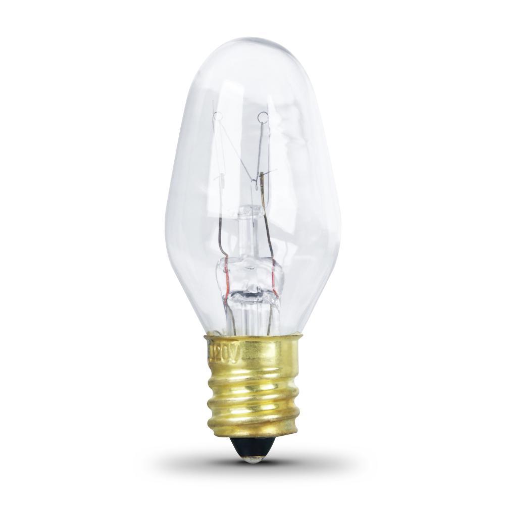 Feit Electric 4-Watt Equivalant C7 2700K Clear Incandescent E12 Night Light Bulb (24-Pack)