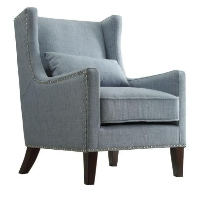 Ashley Blue Linen Wing Back Arm Chair